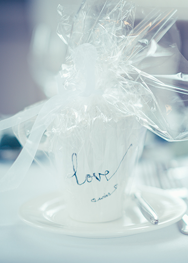Mug wedding favours at Angela and Praj' wedding at Morden Hall wedding venue