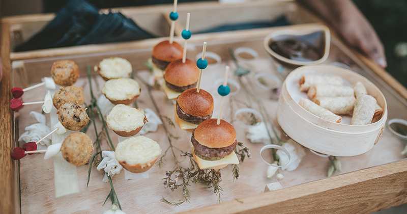 Reception canapes at Morden Hall country house in London