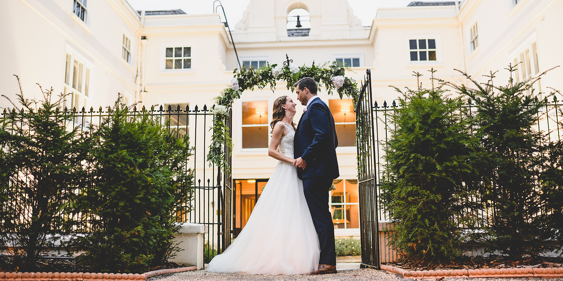 Bride and groom having a special moment at Morden Hall country house in London