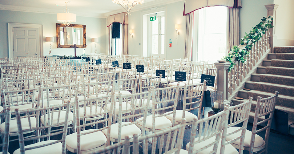 The ceremony room at Angela and Praj' wedding at Morden Hall wedding venue