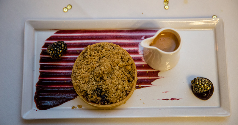 Guests enjoyed a delicious crumble wedding dessert which was perfect for a cold winter wedding day