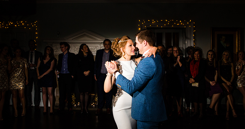 The happy newlyweds take to the dance floor to enjoy their first dance as husband and wife
