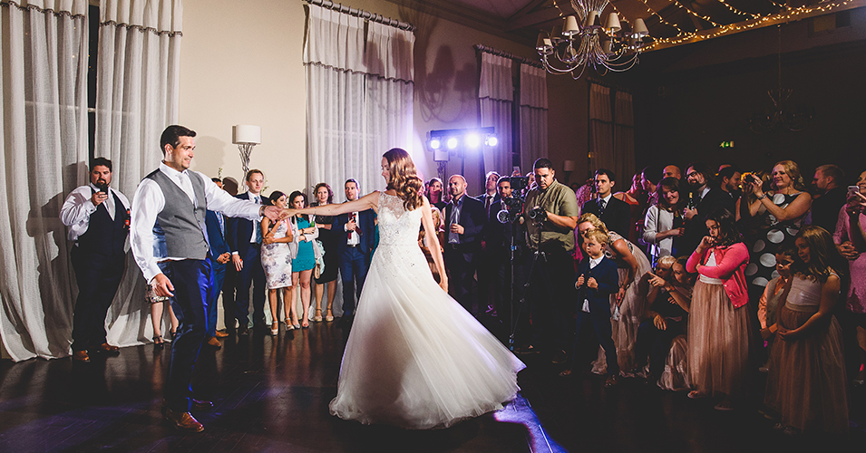 A-bride-and-groom-enjoy-their-first-wedding-dance-at-one-of-the-finest-wedding-venues-in-South-London