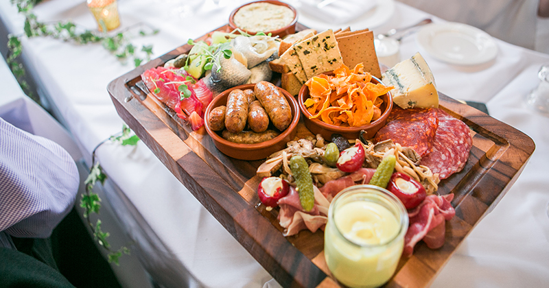 A mouth-watering sharing board is perfect to serve to guests at your Autumn wedding