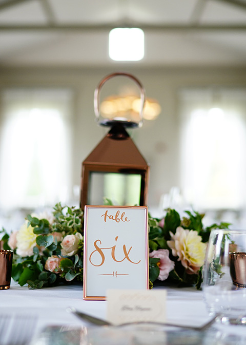 Rose gold wedding decorations were used for table numbers and centrepieces at this London wedding venue