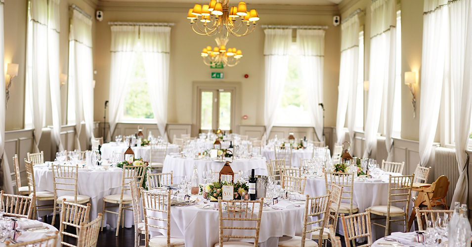 The Mulberry suite is set up for the wedding breakfast at Morden Hall, London