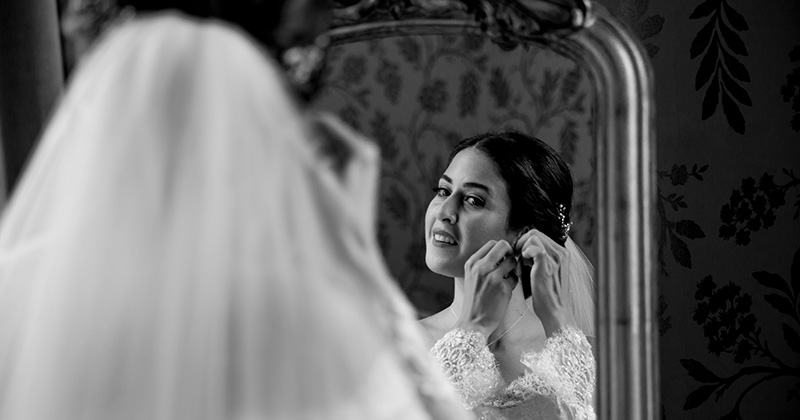 The bride prepares for the wedding ceremony in the Cherry suite at Morden Hall in London
