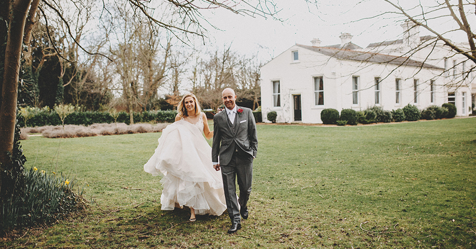 The bride and groom steal a moment away from the wedding party at this London wedding venue