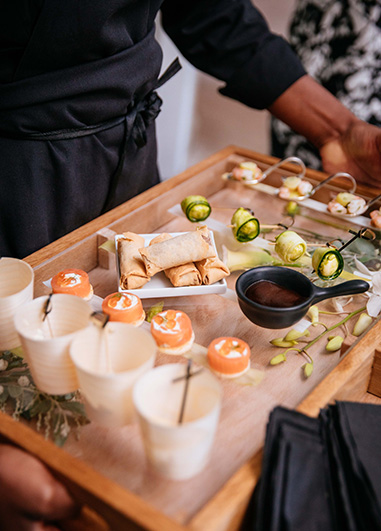 Exquisite canapés were served at the drinks reception at this wedding at Morden Hall in London