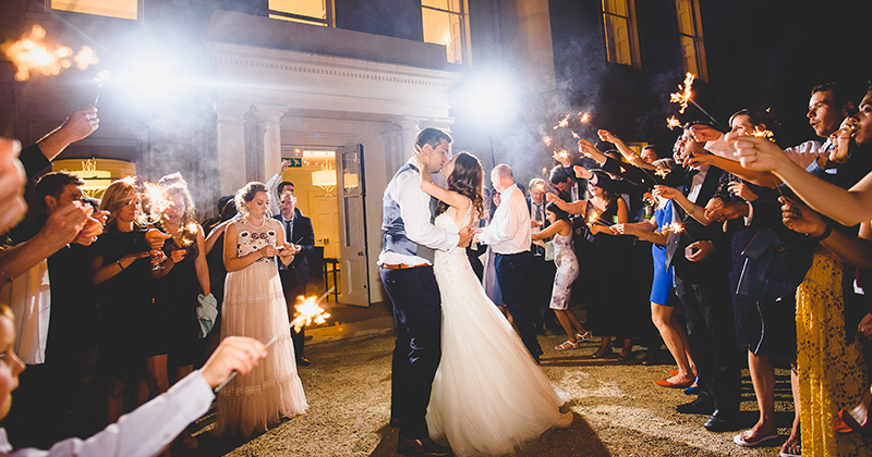 The bride and groom enjoy their evening sparkler finale at this wedding London
