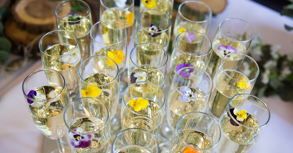 The wedding guests were served with pretty glasses of prosecco at the drinks reception at Morden Hall in London