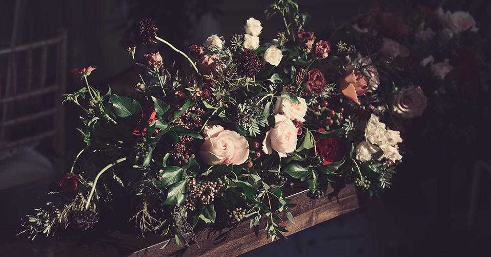 Large arrangements of seasonal flowers and foliage are perfect for a winter wedding at Morden Hall in London