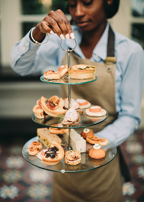 Delicious seasonal canapes were served at this summer wedding at Morden Hall in London