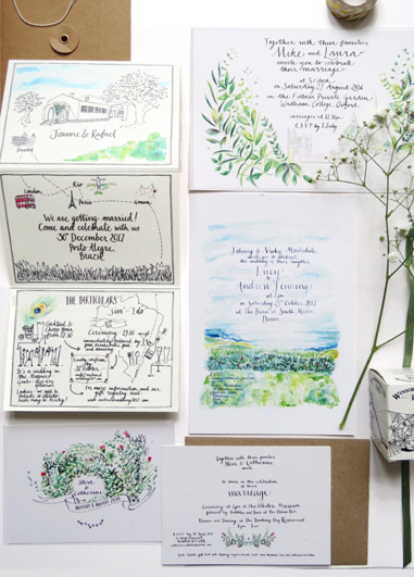 Beautifully hand illustrated wedding stationery adds a more personal touch to your wedding at Morden Hall.