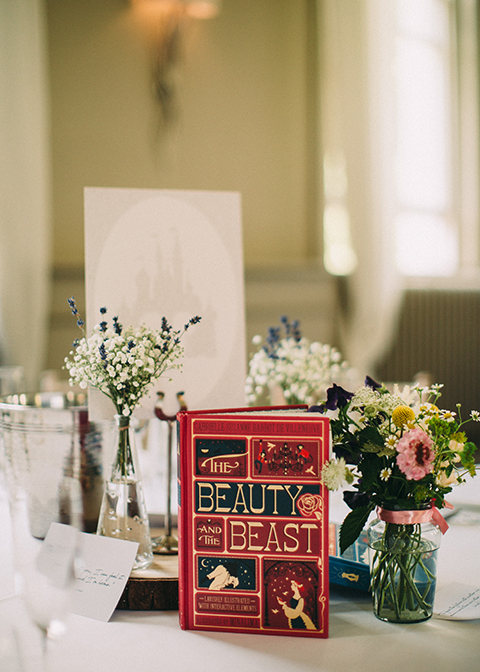 The couple displayed story books as their table names at this country house wedding in London
