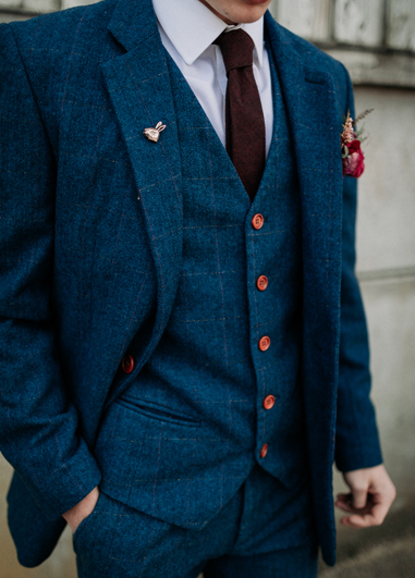 Keep on-trend and opt for a classically smart three-piece suit for your wedding at Morden Hall