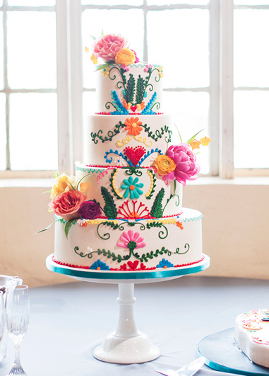 Incorporate bright and bold colours into your wedding cake design for your 2019 wedding at Morden Hall