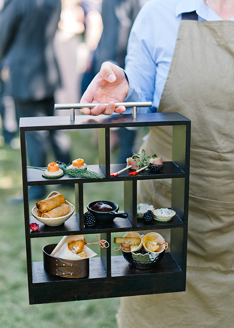 Exquisitely styled canapes were served to wedding guests at this country house wedding in London