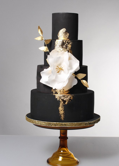 This dramatic black wedding cake would be perfect for a glamourous wedding theme at your Morden Hall wedding