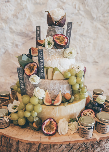 This cheese stack wedding cake is the perfect alternative for those who prefer savoury treats at your wedding at Morden Hall