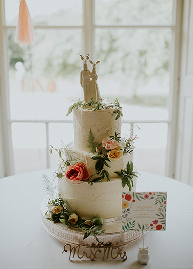 Fresh flowers are the perfect finishing touch to an elegant white iced cake at Morden Hall in London
