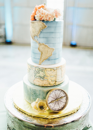 This three tier travel themed wedding cake is set to impress your guests at your Morden Hall wedding