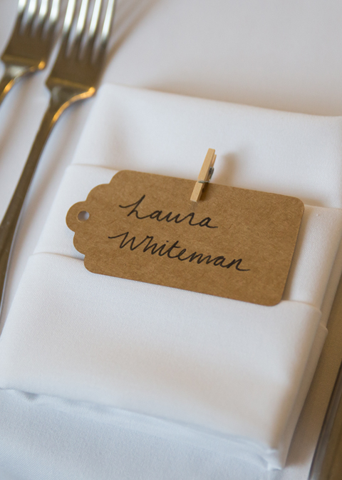The place names were hand written on brown card tags at this wedding in London