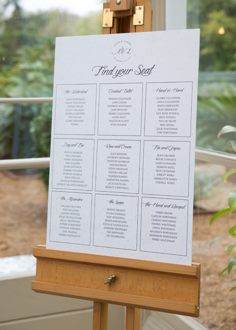 The couple chose a simple but elegant table plan at their wedding at Morden Hall in London