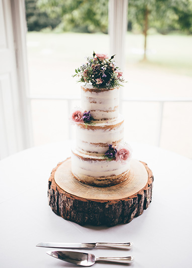 This beautiful three tiered semi-naked wedding cake would be perfect at your country house wedding at Morden Hall in London