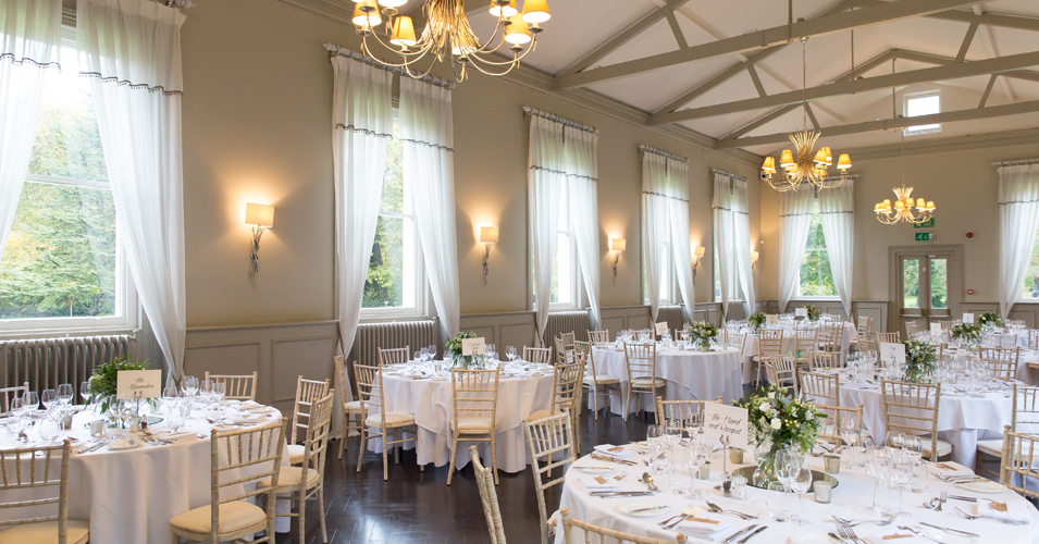 The Mulberry Suite at Morden Hall in London is set up for the wedding breakfast