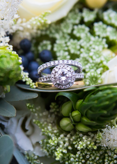 The brides stunning wedding and engagement rings at Morden Hall in London