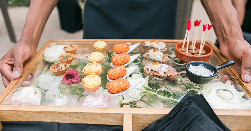 Delicious canapes were served at this spring wedding at Morden Hall in London