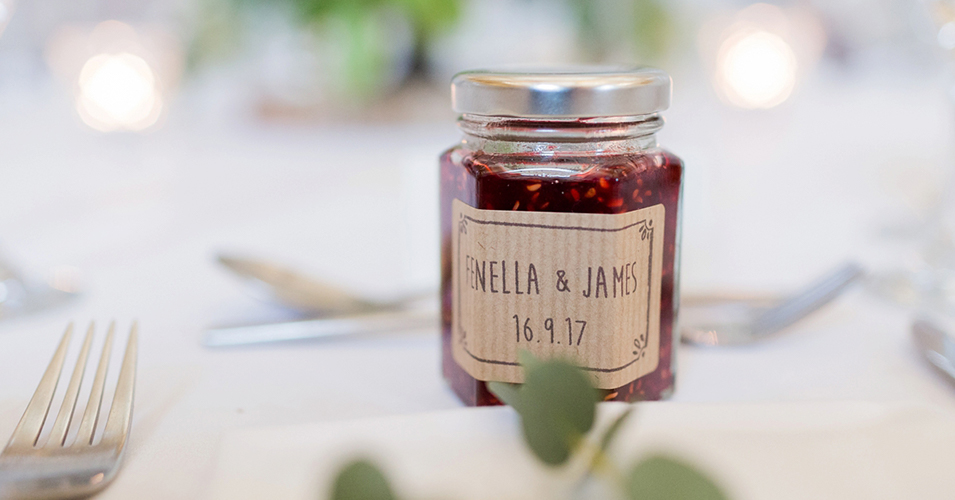 Mini jars of homemade jam are the perfect wedding favour for a spring wedding at Morden Hall in London