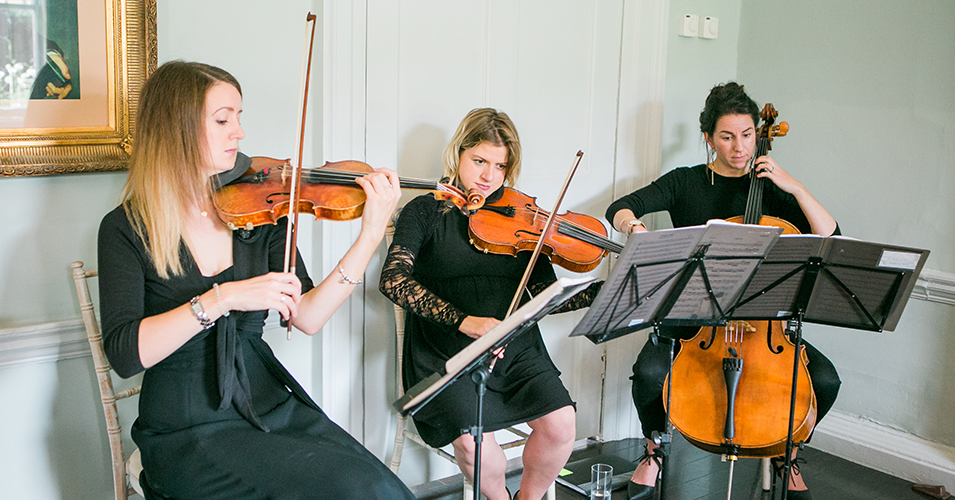 A string quartet play at the wedding ceremony of this wedding at Morden Hall in London