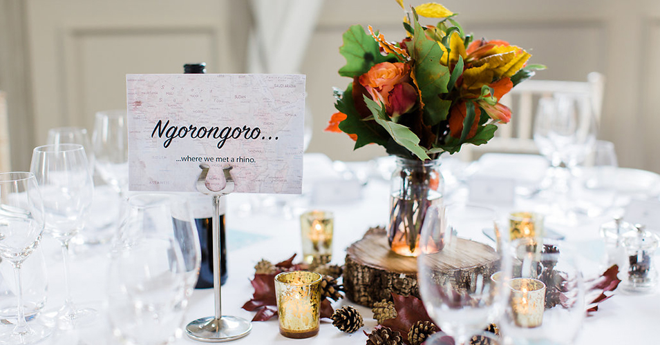 The couple chose travel as the theme for their table names at this Autumn wedding at Morden Hall