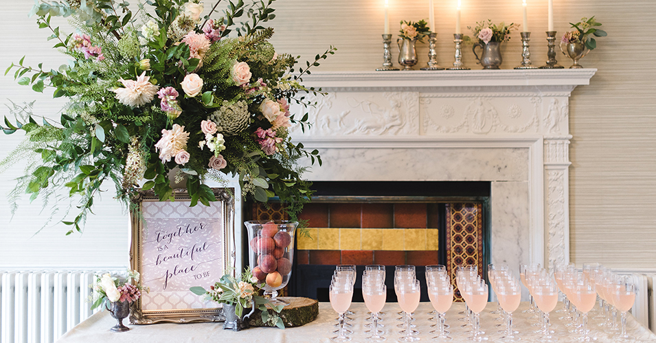 Refreshing blush pink cocktails were served to guests at this wedding at Morden Hall in London