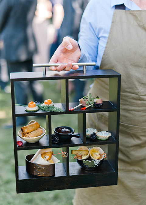 Exquisite canapes were served at this country house wedding at Morden Hall in London