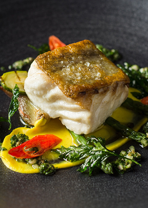 A delicious monk fish main course was served at this summer wedding at Morden Hall in London