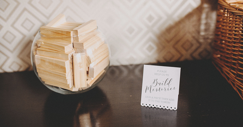 Handmade Jenga blocks were left for guests to sign at this wedding at this wedding venue in London