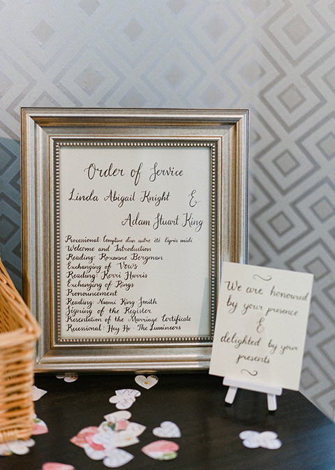 This couple chose a simply elegant handwritten order of service for their wedding at Morden Hall
