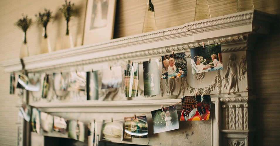 The fireplace at Morden Hall in London was decorated with old family photos