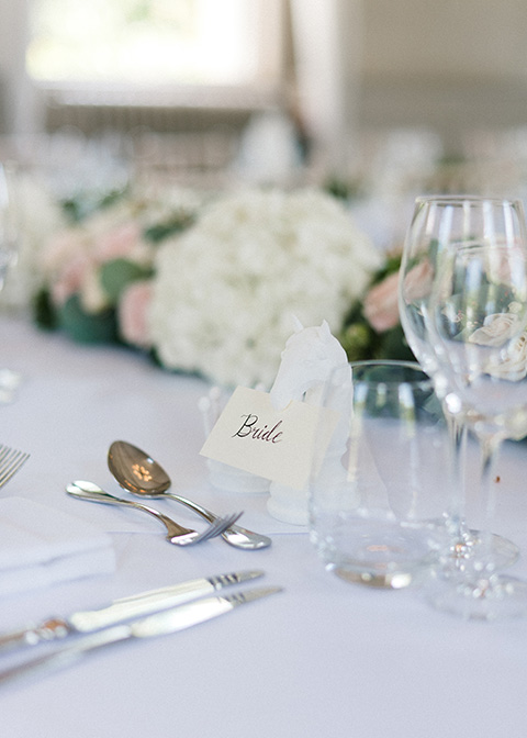 The couple chose simply elegant handwritten place cards for their country house wedding in London