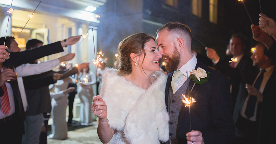 The happy couple enjoyed a sparkler finale at their wedding evening at Morden Hall in London