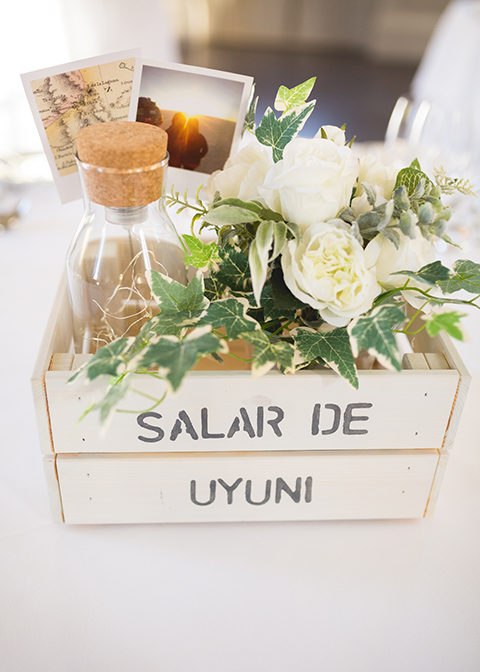 Wooden crates were filled with pretty wedding flowers and other decorative items at this wedding at Morden Hall