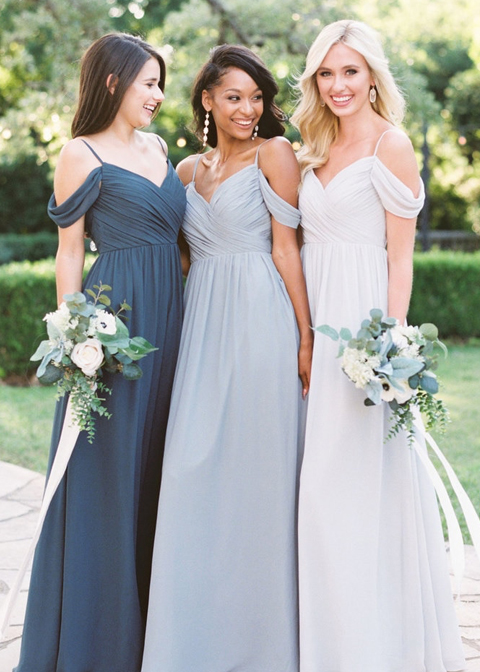 These pretty chiffon bridesmaids wedding dresses are perfect for a warm summer wedding at Morden Hall