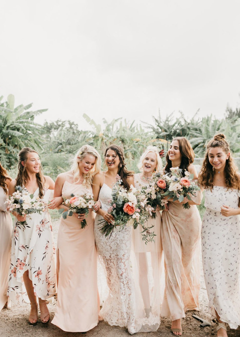 These mixed floral bridesmaids dresses are a great option for a warm summer wedding at Morden Hall