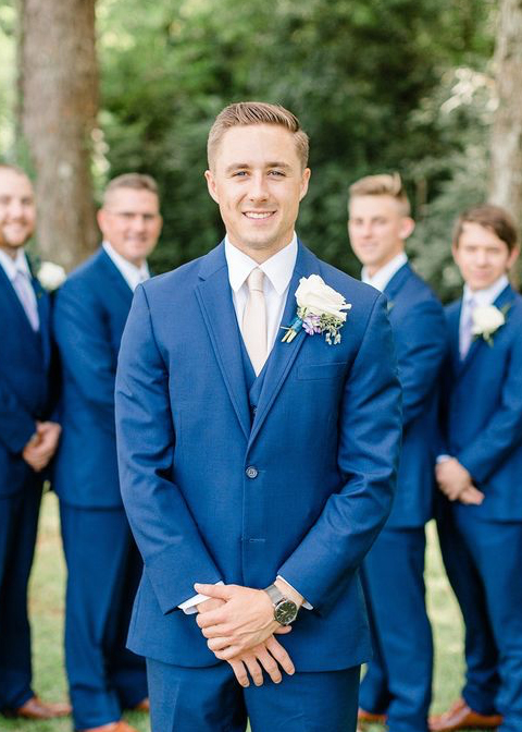 Navy wedding suits are a perfect choice for a summer wedding at Morden Hall