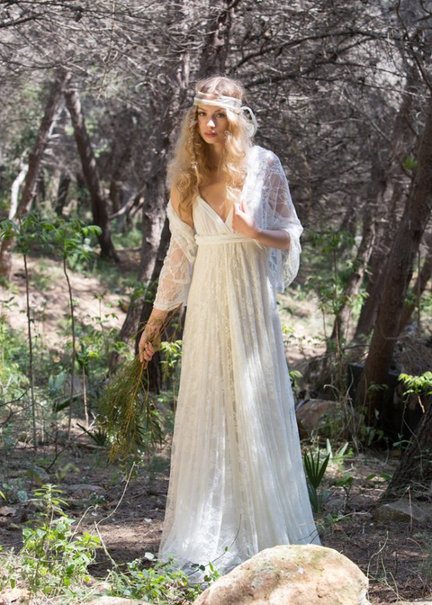 This beautiful boho wedding dress is perfect for a summer wedding at Morden Hall