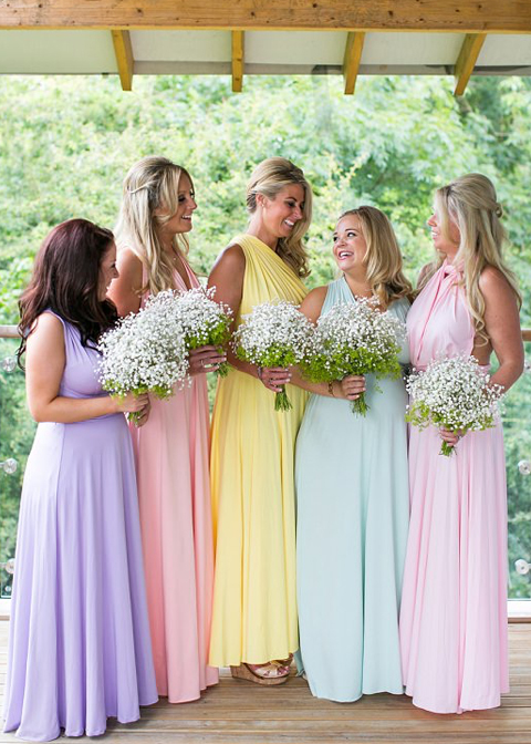 These pastel coloured bridesmaids dresses are perfect for a country house wedding at Morden Hall
