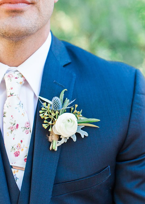 This groom opted for a floral patterned tie for his summer wedding in London